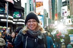 Portrait, Times Square, New York City (chrisjohnbeckett) Tags: portrait street urban nyc newyork timessquare smile people chrisbeckett fujifilmx100f vitraperlucidum hat dents