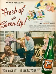 Dad Teaches Son to Defend Himself against Cartoon Bully (saltycotton) Tags: beverage softdrink 7up family husband father housewife mother children fighting boxing vintage magazine advertisement ad 1947 1940s