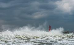 adriatic storm (lucafabbricesena) Tags: rimini emiliaromagna italy wave adriatic sea storm clouds autumn morning lighthouse splash coast overcast water cloudy sky riviera faro nikon d800