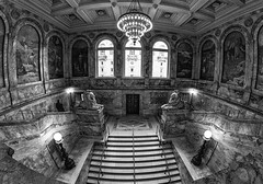 The Boston Public Library. (WilliamND4) Tags: library bostonpubliclibrary boston massachusetts blackandwhite steps stairs