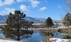 Kettle Lakes (Patricia Henschen) Tags: usairforceacademy coloradosprings colorado kettlelakes clouds afa mountain mountains frontrange park autumn snow pond lake reflection path tree ponderosapine rampartrange