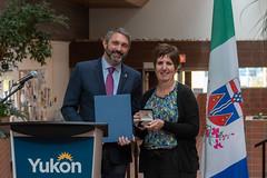 YUKON: Award recipient/lauréate Isabelle Salesse with/avec Premier/premier ministre Sandy Silver