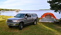 Bay-side Campsite (Dave* Seven One) Tags: florida alabama camping bayfrontcamping pensacolabay waterfront pensacolafl ocean bay gulfofmexico campsite waterfrontcampsite beach sunrise sunset baysidecampsite tenting tent colemantent toyotatundra