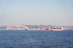 Seattle-Bainbridge Ferry-8 (_futurelandscapes_) Tags: none seattle bainbridgeisland ferry washington transit boat water cityscape skyline autumn sunny bluesky clear bright calm travel vacation city spaceneedle highrise industrial waterfront pier pikeplace
