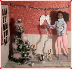 18.advent day - advent calendar with dolls (Mary (Mária)) Tags: barbie mattel christmas christmastree cats wings angel interior handmade diorama miniatures advent winter fashionistas doll barbiebasic marykorcek