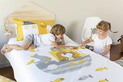 Two Kids Playing on their Kids Bedding Set (wriggly_toes) Tags: kids bedding kidsbedding organickidsbedding cottonbedding kidsquiltcover bedroom boy children childrenplaying girl kid child