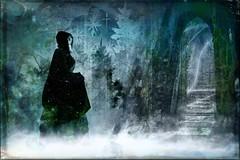 Wistful Thinking (Water to My Soul) Tags: woman cloak secret regret grunge castle stairs green blue trees stars looking backward fog mist
