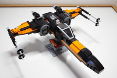 (Improved) Poe Dameron's X-wing: Top-Right-Front View (Evrant) Tags: lego star wars custom x wing t70 t 70 moc bb8 poe dameron black one spaceship starship ship starfighter evrant