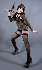 104H5L (klarissakrass) Tags: military gogo costume gurl sexydress crossdress heels highheels pumps sexylegs stockings fishnets uniform transgender crossplay tranny