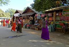 Barefoot outside one of the more important temples in the Bagan archaeological zone (Claire Backhouse) Tags: women bagan barefoot myanmar burma burmese temple shop selling souvenir basket baskets asia southesastasia