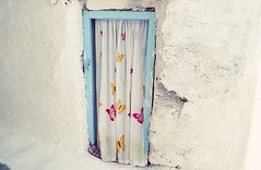 Behind The Obvious : Entrance To Neverland (Storyteller.....) Tags: door home house entrance curtain butterfly colors whire blue yellow purple neverland
