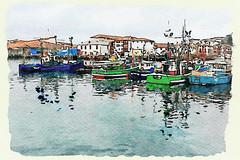 St. Jean de Luz Harbour, A Watercolour (Mikec77) Tags: watercolour southwestfrance fishing boats harbour port arty