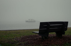 Mysterious morning (MJ6606) Tags: morning ocean tampabay nature water fog park boat bench winter florida