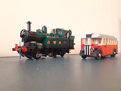 Size comparison (ScotNick1) Tags: lego regal t class bus london uk vehicle car 1930ies 1930 30ies train gwr 1442 comparison transport suburbs aec associated equipment company