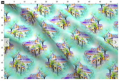 fabric fat quarter THE SPANISH VILLA DAYLIGHT by Paysmage (paysmage) Tags: paysmage spoonflower roostery fabric spanish painted watercolor fabrics upholstery cotton polyester pod print printondemand aqua turquoise drawing design designers designer decoration sewing seamless stiching spring apparel fatquarter yard meter houses homedeco home villa tropical