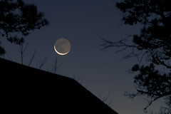 Just out of Reach (brucetopher) Tags: waning crescent moon lunar sliver slivermoon crescentmoon newmooninthearmsoftheold newmoonintheoldmoonsarms newmoonintheoldonesarms skies sky night nightsky celestial dark darkness rooftop silhouette trees treetops branches morning dawn daybreak day firstlight winter fall