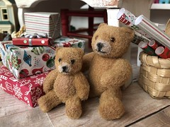 Waiting for hugs (Foxy Belle) Tags: doll christmas 16 scale santas workshop toy north pole toys miniature dollhouse barbie diorama holiday scene room wrapping gifts tiny vintage handmade teddy bears flocked