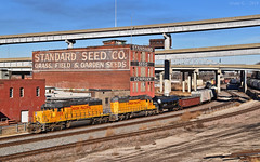 Westbound Transfer in Kansas City, MO (Grant G.) Tags: up union pacific railroad railway locomotive train trains west westbound transfer freight yard job kansas city missouri emd power
