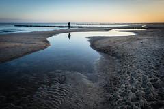Early morning beach walk (Ulrich Neitzel) Tags: alone beach dämmerung dawn dawning einsam mzuiko1240mm man meer mensch morgen olympusem1 reflection sand sea sonnenaufgang spaziergang spiegelung strand walking wasser water sunrise zingst ostsee balticsea solitude