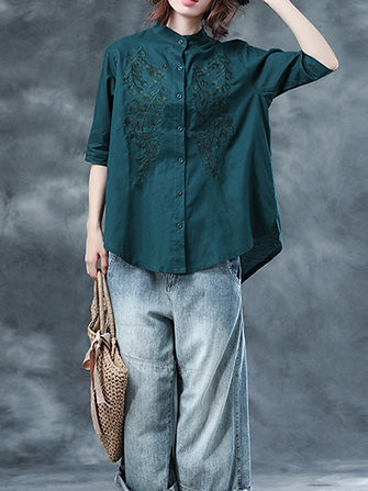 f19aaa8a928cd3 Vintage Women Cotton Loose Short Sleeve Embroidered Blouse (1339172) # Banggood (SuperDeals.