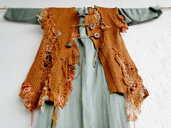 Wearable wall hanging Nr.1 - revisited (MizzieMorawez) Tags: handknittedvest deconstructed reworked embellished machinehandembroidered chiffon fabric inlays fiberart wallhanging wearableart vintage seventies boho revamped raw wild innovative recycled upcycled