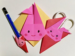 origami rabbit (unikto) Tags: stationeries stationary scissor pencil coaster pink rabbit red yellow blue white eye face smile
