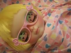 "I ""heart"" her........ (simplychictiques) Tags: cocochoocustomblythedoll blythe ooakcustomizedblythedoll hearts heartfabric heartpaintedlids blytheinglasses pink vintagefabric fantasyhair blythewithyellowhairs liccabody cute childlike candycolors blythewearingglasses dollphotography spokanewashington junebug"