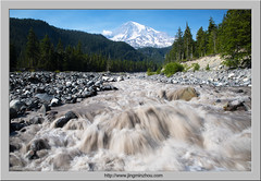 Rapids and the Mountain (Virtual Reality in film) Tags: mtrainiernationalpark rapid river bluesky glacier