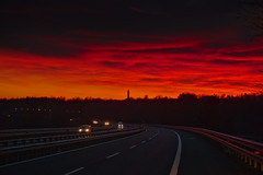 Blood red Goodbye (Marco MCMLXXVI) Tags: winter sunset dusk red blood sky bloody colors highway road autostrada inverno tramonto infuocato fiery italy sony ilce6000 a6000 pz1650 rawtherapee clouds light darkness mood travel