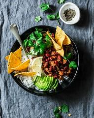 Burrito rice bowl... (sonja-ksu) Tags: food lunch burrito rice beans meat vegetables foodphotography