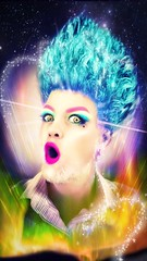 In a Land of Gods and Monsters I Was but an Angel (globaldenny) Tags: cosmic clown beehive bluehair drag angel monsters gods