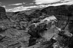 Views of Thakgil (azhukau) Tags: iceland outdoors canyon travel hiking mountain rockobject blackandwhite monochrome cloudsky thakgil rockstrata escarptment mountainridge