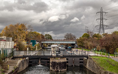 Lock on the Lea (PhredKH) Tags: 50mm canoneos5dmkiii canonphotography ef50mmf18stm fredkh photosbyphredkh phredkh pylons riverlea splendid boats clouds outdoorphotography river scencwater sky water london enfield