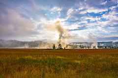 Smoky morning at Yellowstone (Uday Mittal) Tags: yellowstone ynp morning sunrise landscape fall grass