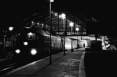 Train ready for departure (Drehscheibe) Tags: train bahnhof station blackwhite 35mm film hp5plus nikonf2 nikkor50mm analogica berlin germany absoluteblackandwhite