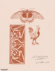 Butterfly, rooster and leaf ornament (1901) by Julie de Graag (1877-1924). Original from The Rijksmuseum. Digitally enhanced by rawpixel. (Free Public Domain Illustrations by rawpixel) Tags: madepsd madevector animal antique art artwork butterfly drawing handdrawn illustrated illustration illustrator juliedegraag leaf leafornament old ornament pdrijks publicdomain rijksmuseum rooster sketch vintage woodcut