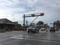 The Gates at Kirkwood are messed up (DieselDucy) Tags: kirkwood messedup railroadcrossing trainstation