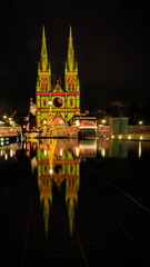 reflection-2 [Explore Dec 18, 2018 #121] (Mariasme) Tags: reflection water stmarys artificiallights christmas sydney startswithmatchpoint cathedral christmastree pool