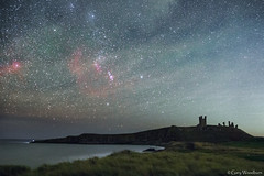 Orion & The Castle - Airglow, Dunstanburgh Castle, Northumberland (Gary Woodburn) Tags: canon 600d astro modified orion widefield landscape nightscape dunstanburgh castle northumberland night sky nebula stars starry 24mm samyang 14mm barnards loop flame horsehead rosette