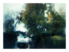 Rainy autumn morning No. 2 (andypf01) Tags: abstract distortion rain water trees blur autumn colour frame mood atmosphere texture liquid liquify cars wet glass