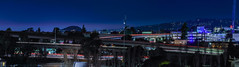 macarthur bart station and maze panorama (pbo31) Tags: bayarea california eastbay alamedacounty nikon d810 color night black dark january 2019 boury pbo31 oakland pillhill lightstream motion freeway exchange overpass expressway 580 980 24 traffic blue panorama large stitched panoramic