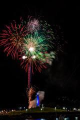 Fireworks at Lion's Lighthouse (SCSQ4) Tags: california downtownlongbeach fireworks lionslighthouse longexposure newyearseve night nightphotography pineavenuepier rainbowharbor