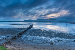 Misty Blue Dawn Bay Waterscape with Wharf (Merrillie) Tags: daybreak woywoy landscape nature bay reflections foreshore newsouthwales clouds earlymorning nsw brisbanewater wharf australia cloudy morning coastal water outdoors waterscape sunrise centralcoast sky dawn