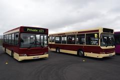 EYMS 471 and 486 @ Showbus 2018 - Donington Park (ianjpoole) Tags: preserved east yorkshire motor services dennis dart plaxton mini pointer w471uag 471 y486vrh 486 donington park for showbus