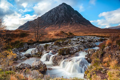 Buachaille Etive Mor Waterfall (Steve Moore-Vale) Tags: buachailleetivemorwaterfall etivemor etive mor waterfall glencoe scotland mountain landscape landscapephotography scottishlandscapes scottish glen coe buachaille canon 24105 autumn brown powerful wallart hill water river coupall greatherdsmanofetive seasons