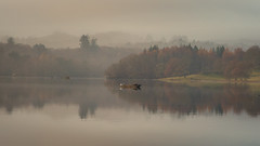 Fishing (Andrew G Robertson) Tags: windermere lake district cumbria fishing boat reflections calm mist fog