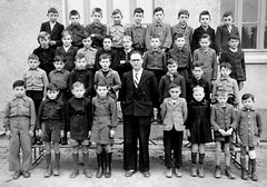 1952 Les Cerqueux (theirhistory) Tags: boy child kid school class form pupils teacher coat jacket shorts shoes wellies trousers wellingtons