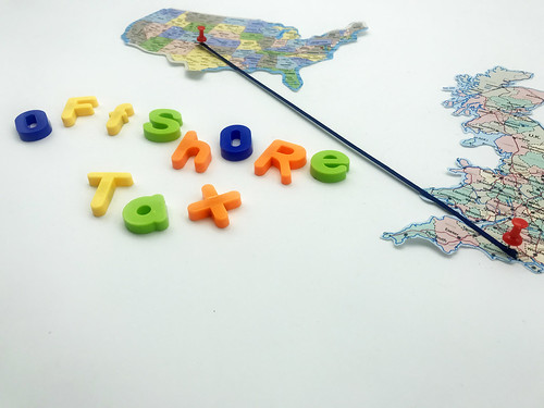 Offshore Tax written in coloured letters, alongside 2 countries joined by a pin and a string