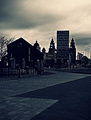 Blue Monday in Liverpool (ronramstew) Tags: liver building docklands liverpool merseyside mono