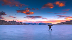 Frozen Pangong Lake in Ladakh, India (Vikas Panghal) Tags: ice cold frozen lake extreme sky clouds beautiful posing man guy happy mountains himalayas india ladakh high altitude wild outdoor evening sunset colorful blue orange